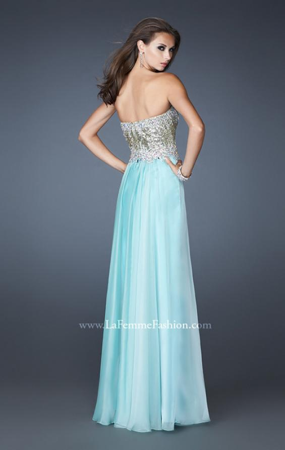Picture of: Strapless Chiffon Gown Embellished with Sequins and Gems in Blue, Style: 18556, Back Picture