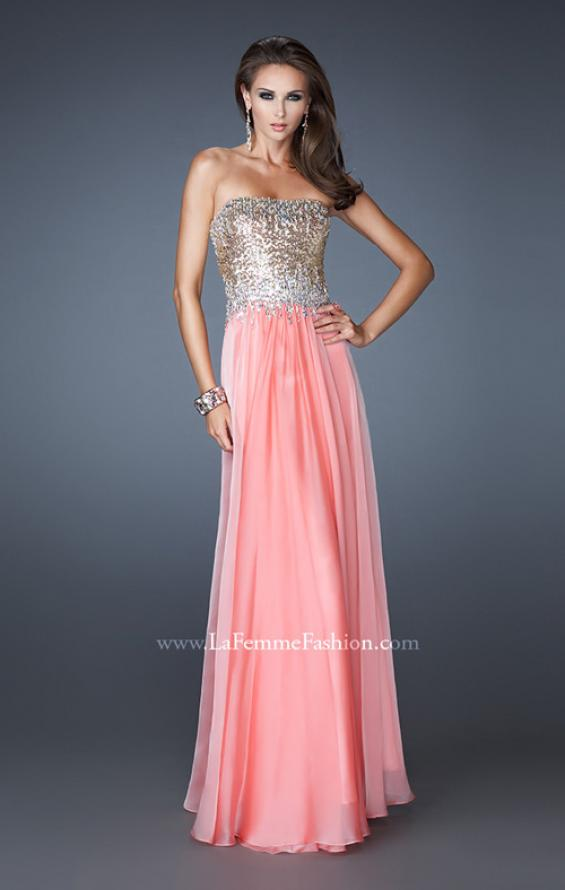 Picture of: Strapless Chiffon Gown Embellished with Sequins and Gems in Orange, Style: 18556, Detail Picture 1