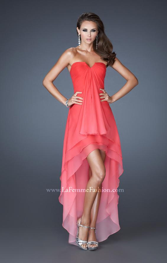 Picture of: High Low Layered Ombre Chiffon Dress with Pleating in Orange, Style: 18557, Main Picture