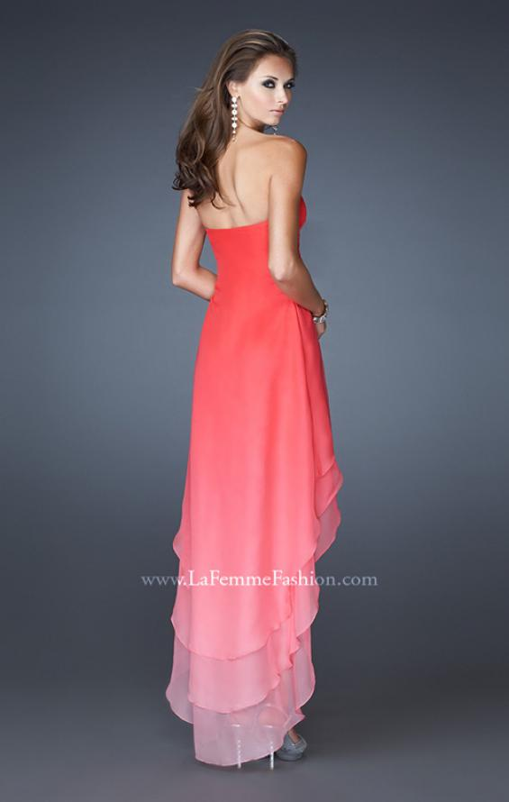 Picture of: High Low Layered Ombre Chiffon Dress with Pleating in Orange, Style: 18557, Back Picture