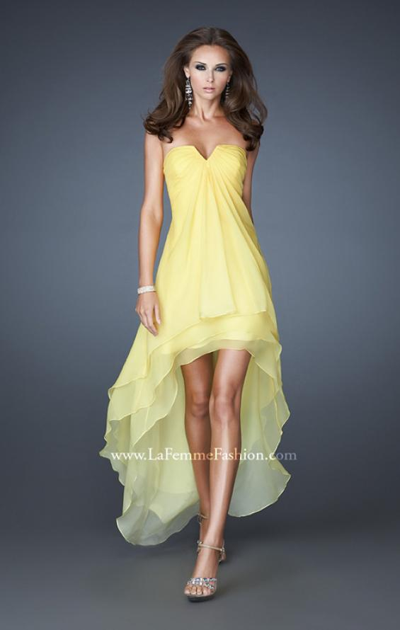 Picture of: High Low Layered Ombre Chiffon Dress with Pleating in Yellow, Style: 18557, Detail Picture 1