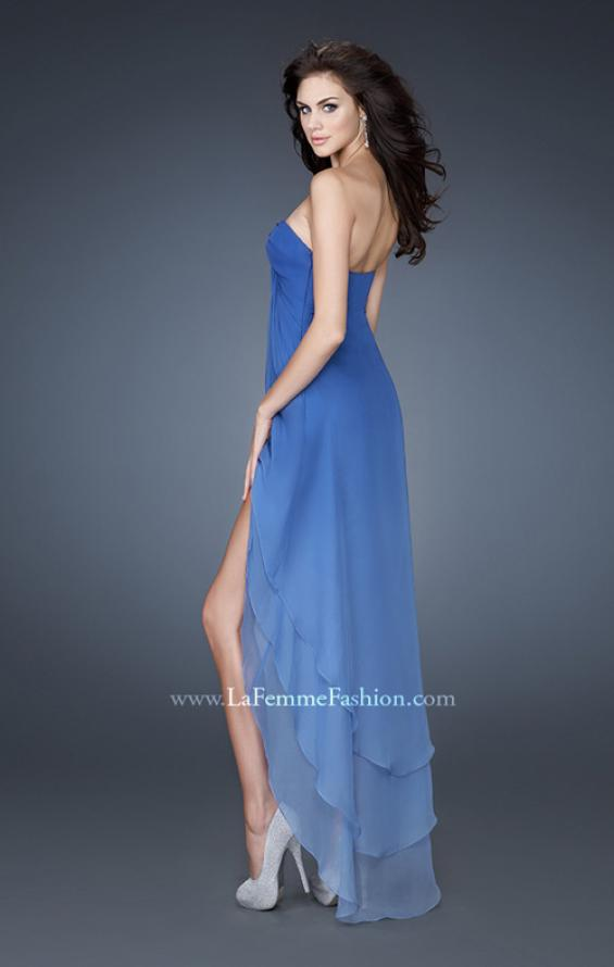 Picture of: High Low Layered Ombre Chiffon Dress with Pleating in Blue, Style: 18557, Detail Picture 2