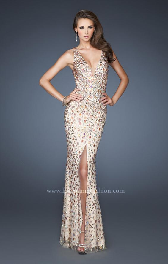 Picture of: Fitted Prom Gown with Oversized Stones and Cut Out Back in Nude, Style: 18559, Main Picture