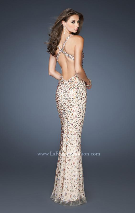 Picture of: Fitted Prom Gown with Oversized Stones and Cut Out Back in Nude, Style: 18559, Back Picture