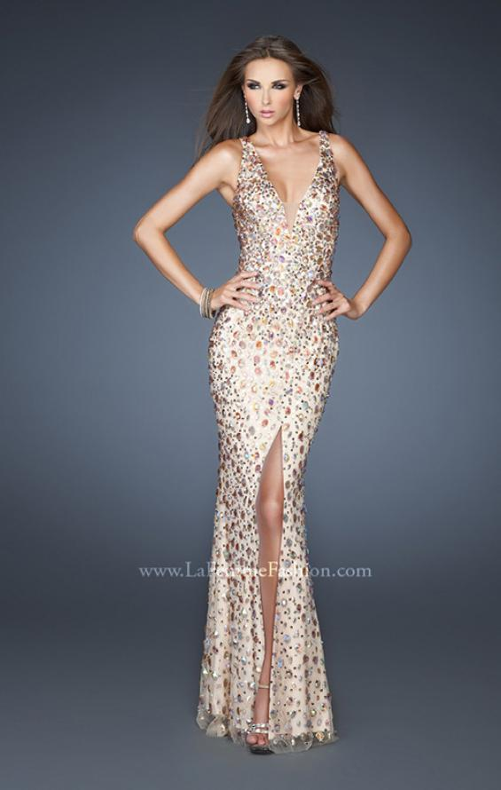 Picture of: Fitted Prom Gown with Oversized Stones and Cut Out Back in Nude, Style: 18559, Detail Picture 1