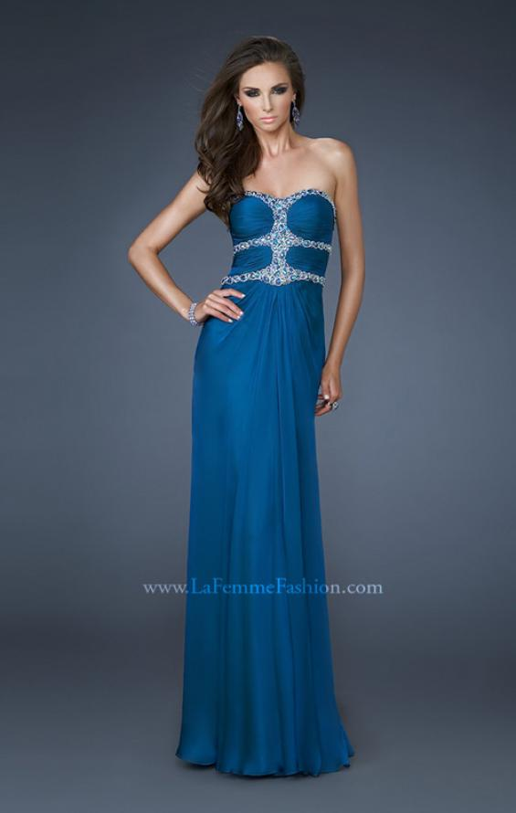 Picture of: Beaded Bodice Long Prom Dress with Cut Outs and Stones in Blue, Style: 18560, Main Picture