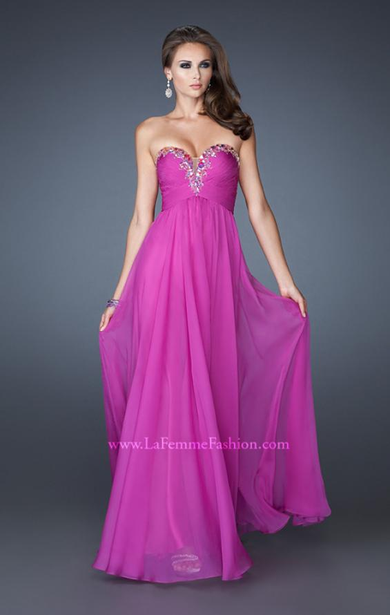 Picture of: Long Chiffon Prom Dress with Center Front Ruching in Purple, Style: 18563, Detail Picture 1