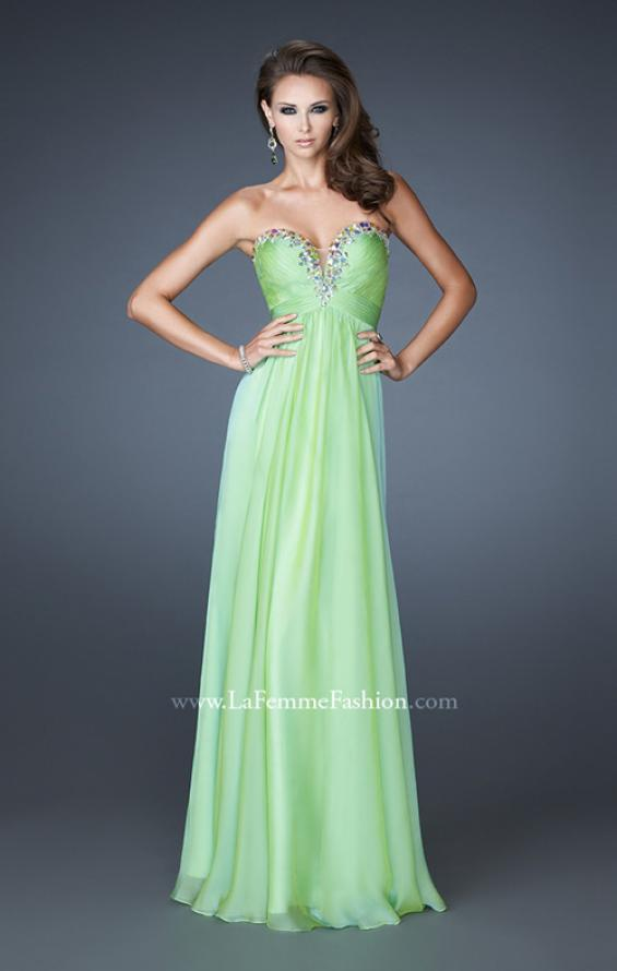Picture of: Long Chiffon Prom Dress with Center Front Ruching in Green, Style: 18563, Detail Picture 2