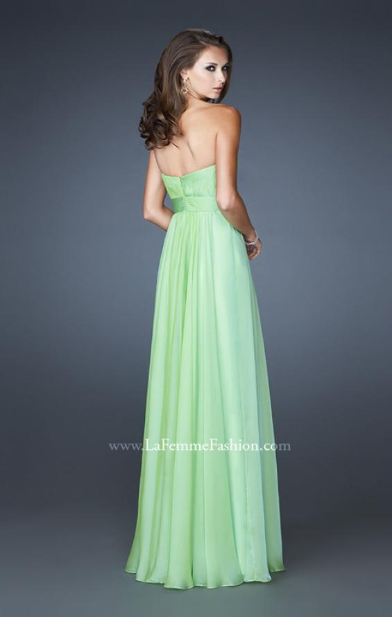 Picture of: Long Chiffon Prom Dress with Center Front Ruching in Green, Style: 18563, Detail Picture 3