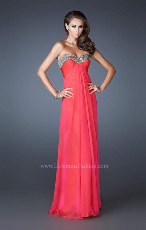 Picture of: Sweetheart Neck Dress with Rhinestones and Flowy Skirt in Orange, Style: 18566, Main Picture