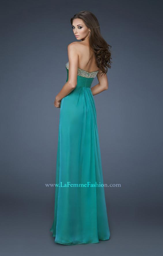 Picture of: Sweetheart Neck Dress with Rhinestones and Flowy Skirt in Green, Style: 18566, Back Picture