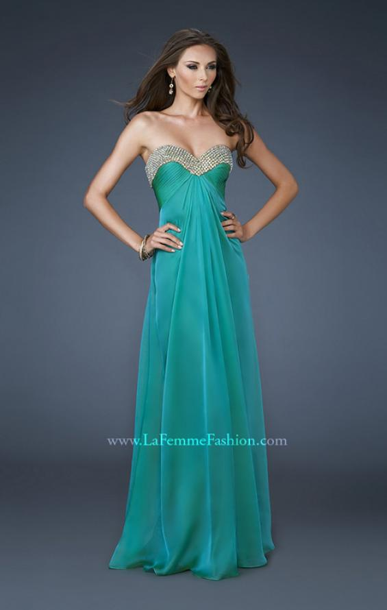 Picture of: Sweetheart Neck Dress with Rhinestones and Flowy Skirt in Green, Style: 18566, Detail Picture 1