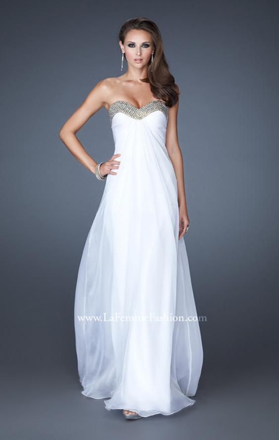 Picture of: Sweetheart Neck Dress with Rhinestones and Flowy Skirt in White, Style: 18566, Detail Picture 2