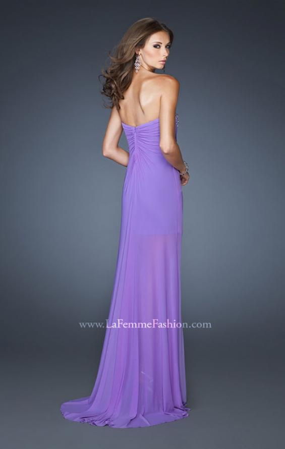 Picture of: Ruched Skirt Cocktail Dress with Multi Colored Stones in Purple, Style: 18567, Back Picture