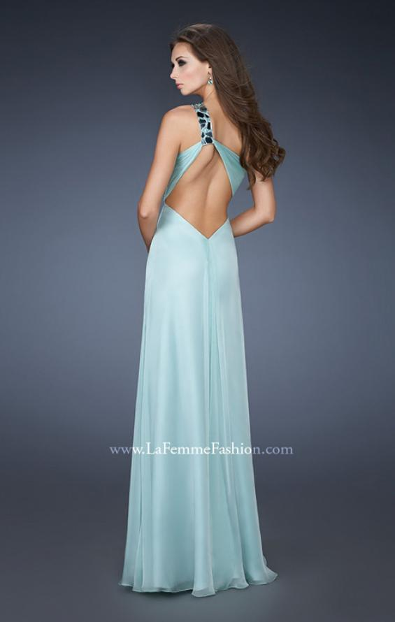 Picture of: Chic One Shoulder Chiffon Dress with Ruched Bodice, Style: 18573, Back Picture