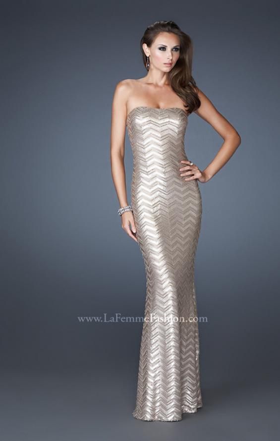 Picture of: Chevron Sequined Patterned Strapless Prom Dress in Nude, Style: 18578, Main Picture