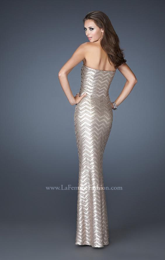 Picture of: Chevron Sequined Patterned Strapless Prom Dress in Nude, Style: 18578, Back Picture