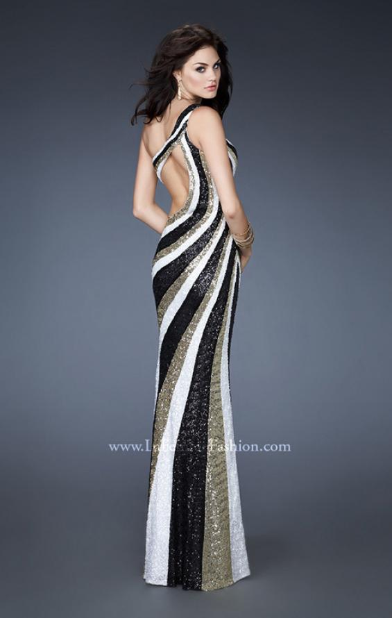 Picture of: Long Patterned Prom Dress with Sequins and Open Back, Style: 18580, Main Picture