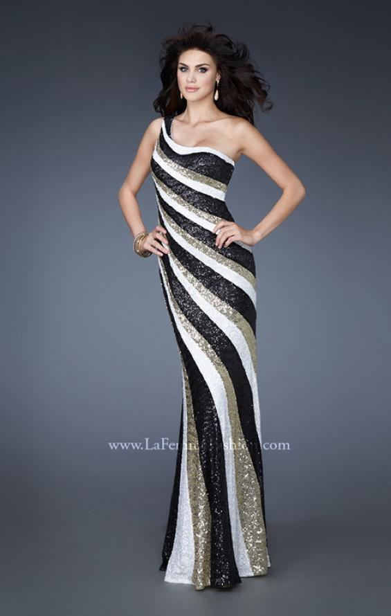 Picture of: Long Patterned Prom Dress with Sequins and Open Back, Style: 18580, Back Picture