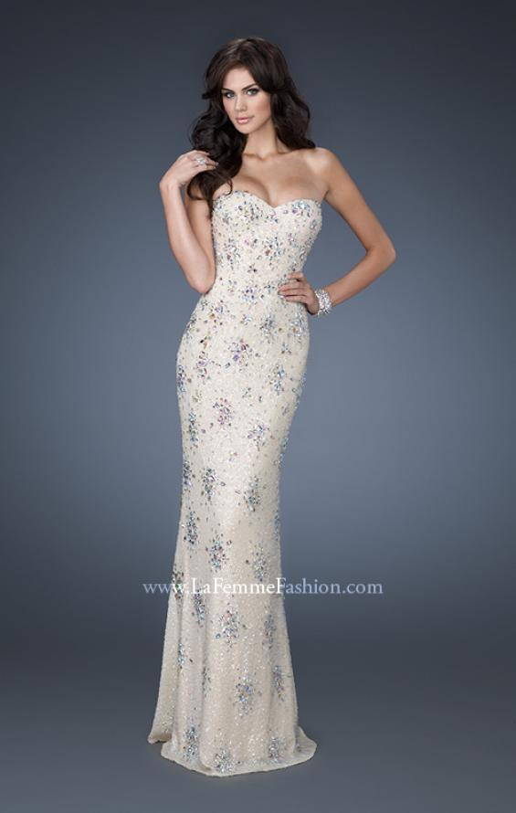 Picture of: Sequined Prom Gown with Iridescent Stone Detailing in Ivory, Style: 18583, Main Picture