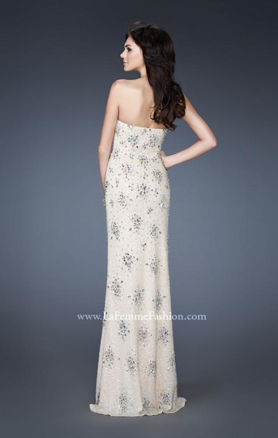 Picture of: Sequined Prom Gown with Iridescent Stone Detailing in Ivory, Style: 18583, Back Picture