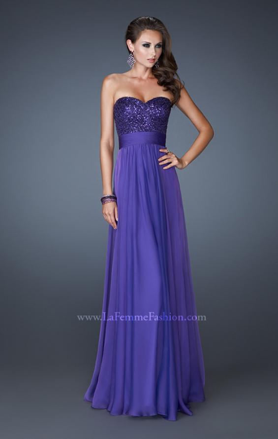 Picture of: Strapless Empire Chiffon Gown with Ruched Sequin Pattern, Style: 18584, Detail Picture 1