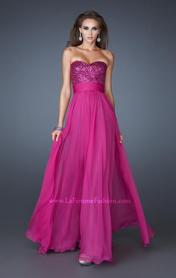 Picture of: Strapless Empire Chiffon Gown with Ruched Sequin Pattern, Style: 18584, Detail Picture 2