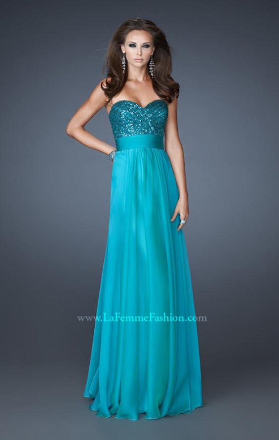 Picture of: Strapless Empire Chiffon Gown with Ruched Sequin Pattern, Style: 18584, Detail Picture 3