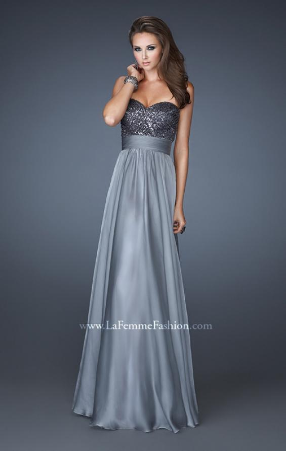 Picture of: Strapless Empire Chiffon Gown with Ruched Sequin Pattern, Style: 18584, Detail Picture 4