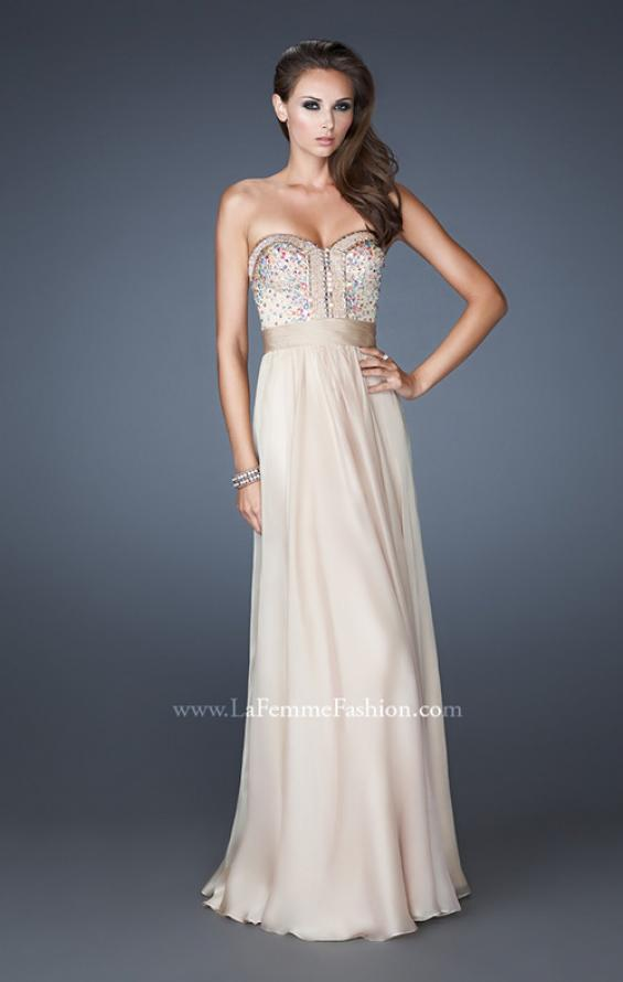 Picture of: Crystal Embellished Prom Dress with Ruching and Belt, Style: 18588, Main Picture