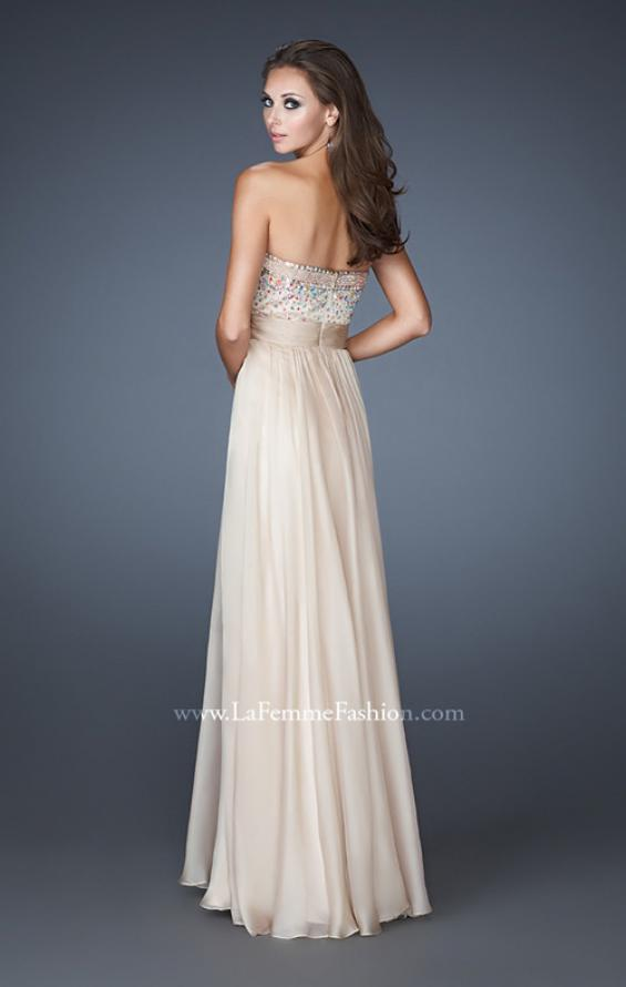 Picture of: Crystal Embellished Prom Dress with Ruching and Belt, Style: 18588, Back Picture