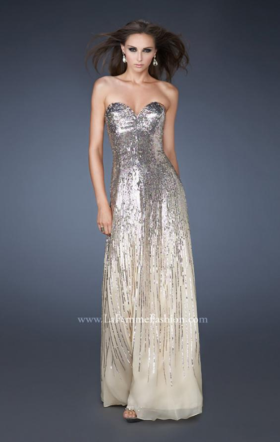 Picture of: Sweetheart Neckline Prom Dress with Cascading Sequins, Style: 18590, Main Picture