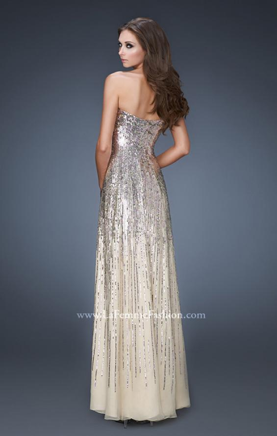 Picture of: Sweetheart Neckline Prom Dress with Cascading Sequins, Style: 18590, Back Picture