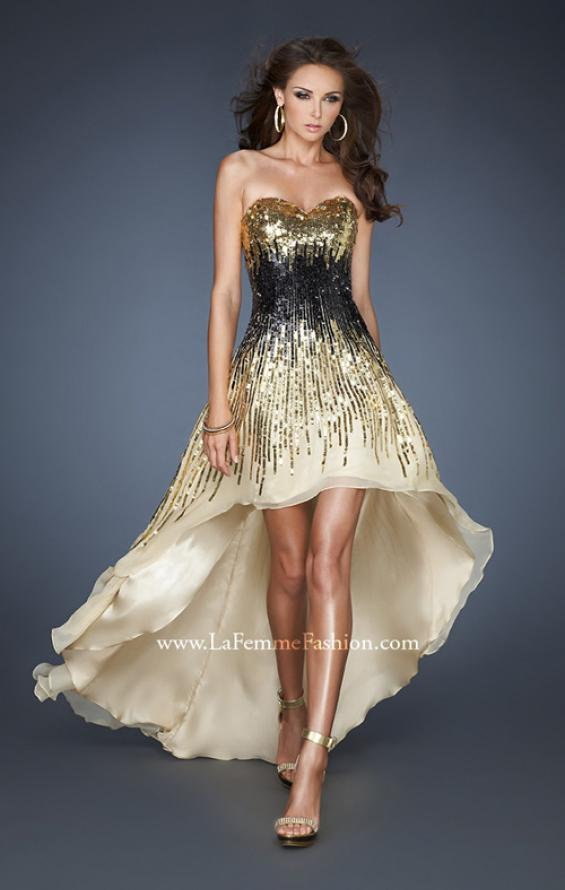 Picture of: Long Strapless Gown with High Low Skirt and Sequins, Style: 18591, Main Picture