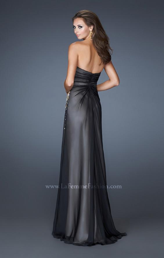 Picture of: Strapless Prom Gown with Beaded Sides and Ruching in Black, Style: 18594, Back Picture