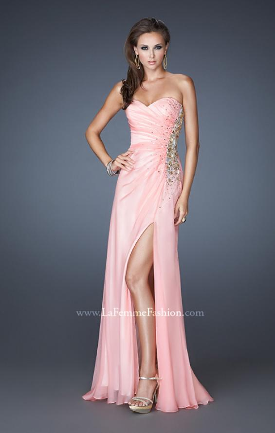 Picture of: Strapless Prom Gown with Beaded Sides and Ruching in Pink, Style: 18594, Detail Picture 1