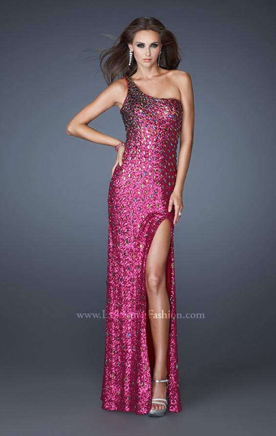 Picture of: Fully Sequined Prom Dress with Side Slit and Stones, Style: 18600, Detail Picture 1