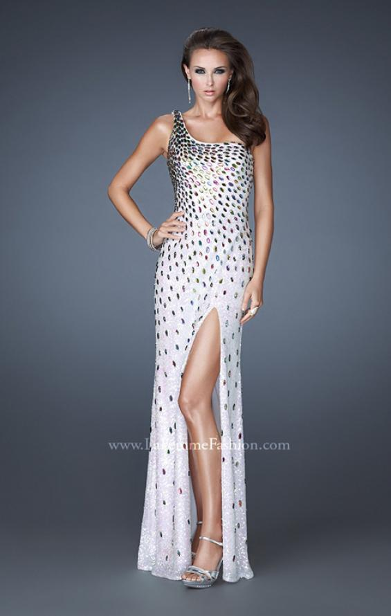 Picture of: Fully Sequined Prom Dress with Side Slit and Stones, Style: 18600, Detail Picture 2