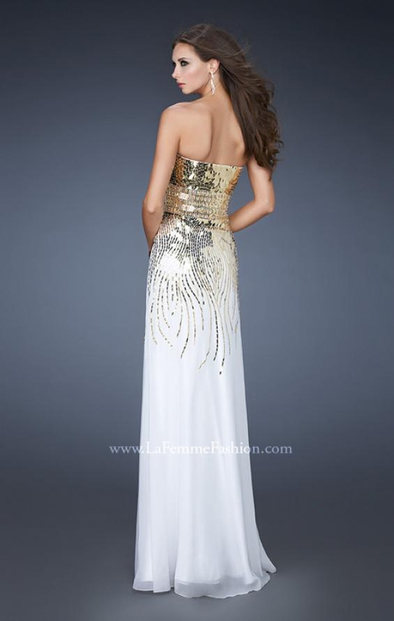 Picture of: Fitted Strapless Dress with Metallic Sequin Detail in White, Style: 18603, Back Picture