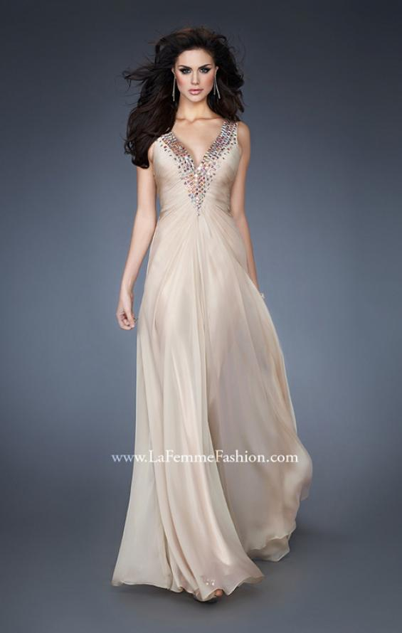 Picture of: Chiffon V Neck Prom Gown with Iridescent Stone Detail in Nude, Style: 18604, Main Picture