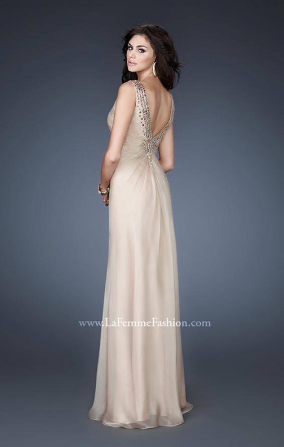 Picture of: Chiffon V Neck Prom Gown with Iridescent Stone Detail in Nude, Style: 18604, Back Picture