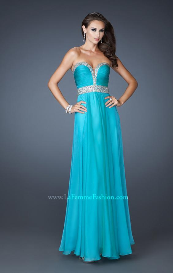 Picture of: Long Prom Dress with Gem Bordered Neckline and Beads, Style: 18609, Detail Picture 1