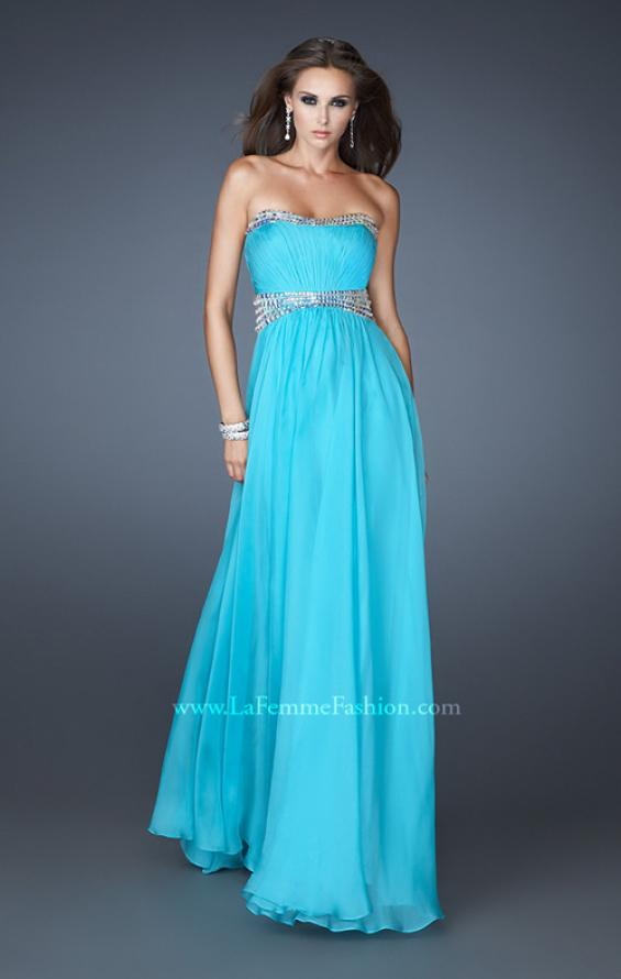 Picture of: Classic Chiffon Prom Dress with Beaded Neckline and Waist in Blue, Style: 18611, Main Picture