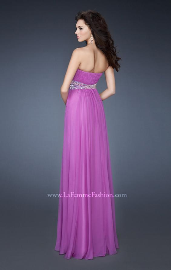 Picture of: Classic Chiffon Prom Dress with Beaded Neckline and Waist in Purple, Style: 18611, Back Picture