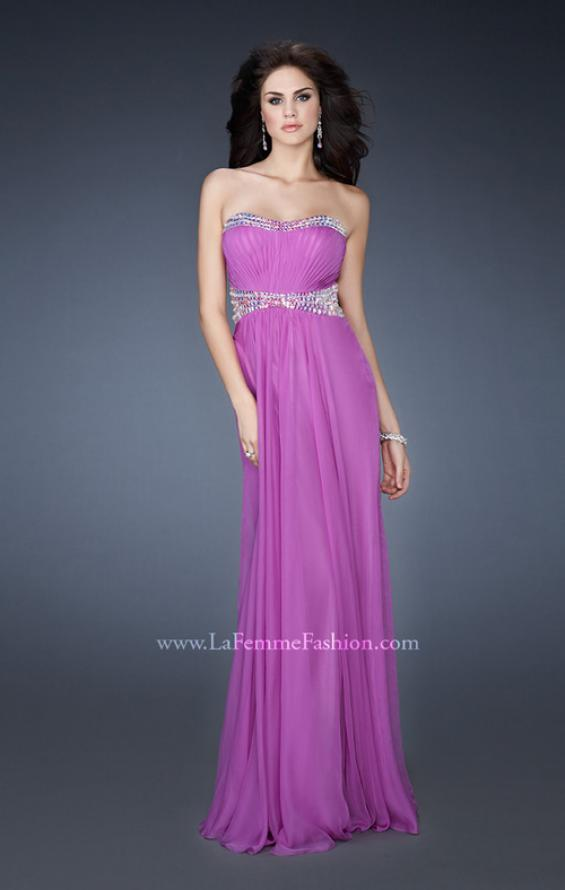 Picture of: Classic Chiffon Prom Dress with Beaded Neckline and Waist in Purple, Style: 18611, Detail Picture 1