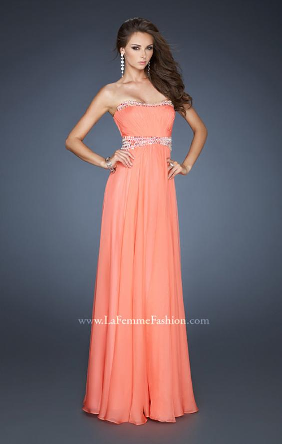 Picture of: Classic Chiffon Prom Dress with Beaded Neckline and Waist in Orange, Style: 18611, Detail Picture 2