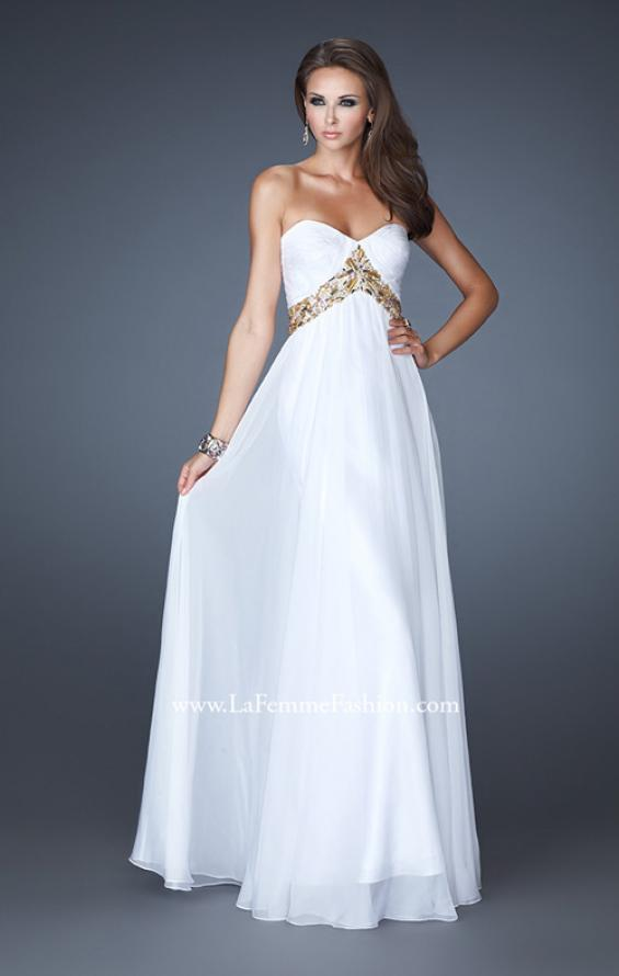 Picture of: Chiffon Empire Dress with Pleated Bodice and Beads, Style: 18612, Main Picture