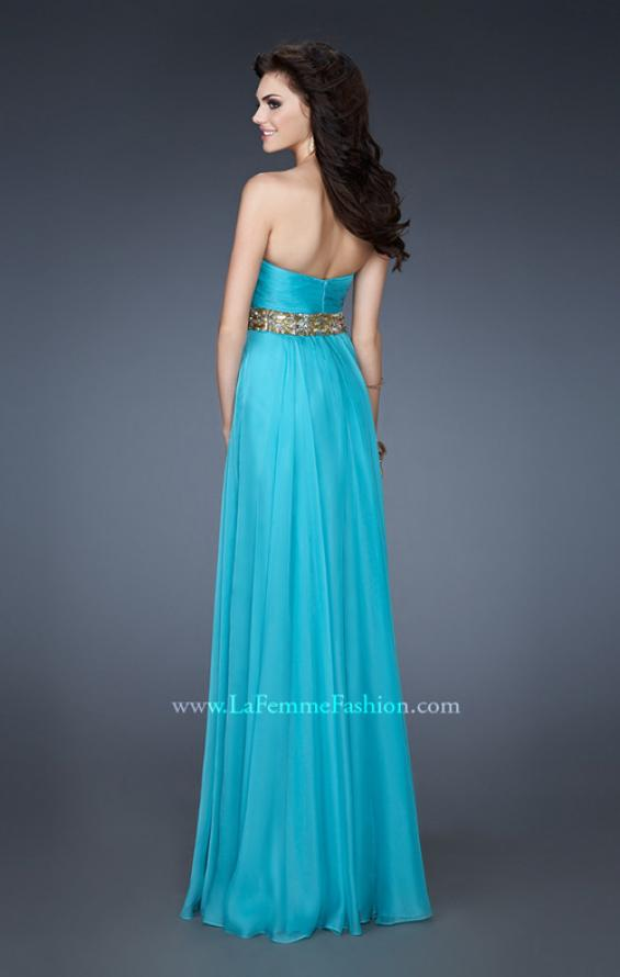 Picture of: Chiffon Empire Dress with Pleated Bodice and Beads, Style: 18612, Back Picture