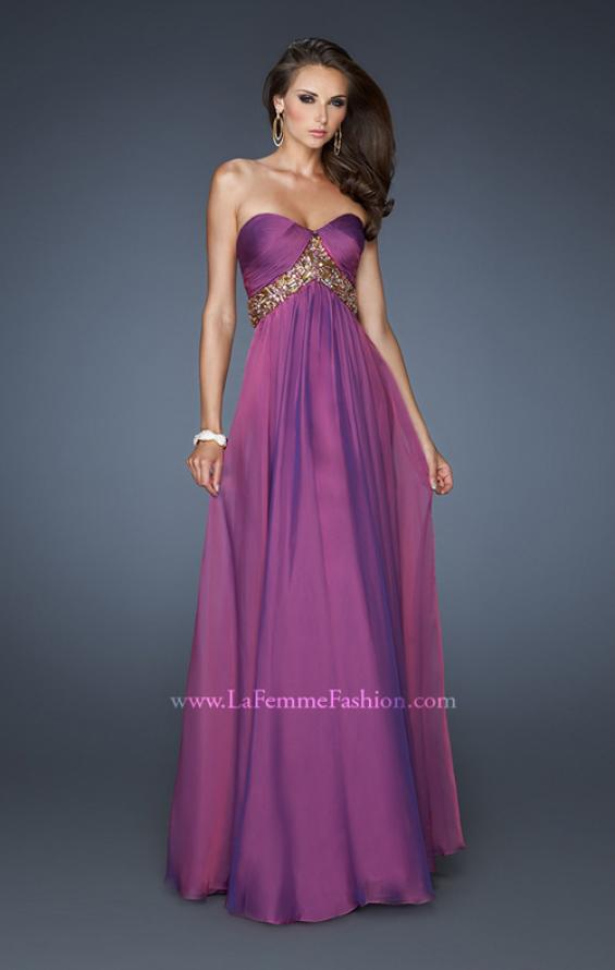 Picture of: Chiffon Empire Dress with Pleated Bodice and Beads, Style: 18612, Detail Picture 3