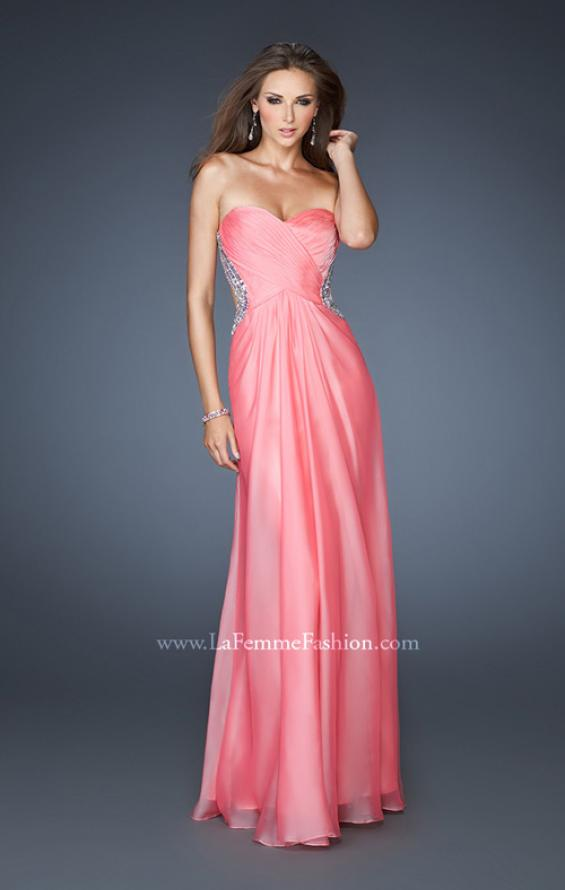 Picture of: Strapless Chiffon Dress with Cut Outs and Beaded Trim, Style: 18619, Main Picture